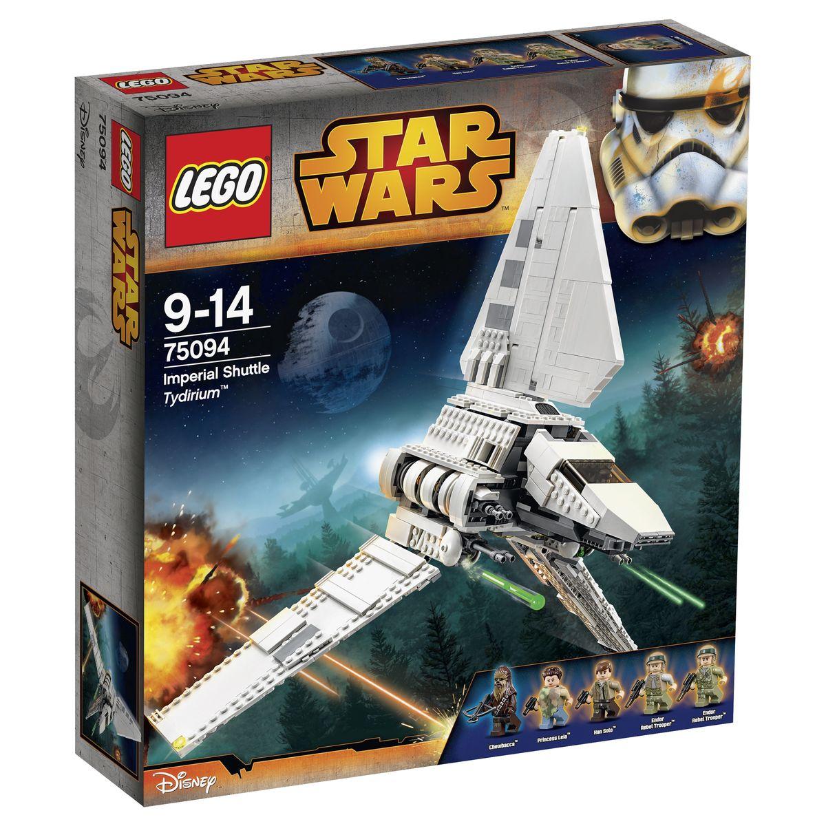 LEGO Star Wars Конструктор Имперский шаттл Тайдириум 7509475094Из деталей набора LEGO 75094 вы сможете построить модель классического Имперского шаттла. Его корпус выполнен из белых деталей с добавление серых элементов. Отличительной особенностью модели является система трех крыльев. Верхнее абсолютно неподвижно, а два боковых меняют свое положение, подстраиваясь к различным видам полёта: во время посадки они поднимаются, стараясь занять максимально вертикальное положение, а во время взлёта опускаются намного ниже уровня плоскости днища. Передняя часть фюзеляжа представляет собой вытянутую кабину пилота, предназначенную для двух мини фигурок. Подняв часть крыши, можно заглянуть внутрь и рассмотреть приборную панель и рулевое управление. За кабиной располагается вместительный грузовой отсек. Чтобы разместить внутри пассажиров и дополнительное оборудование, необходимо воспользоваться поднимающимися боковыми стенками. Также модель оборудована активными полозьями шасси, которые после взлета складываются и надежно фиксируются под грузовым отсеком. ...