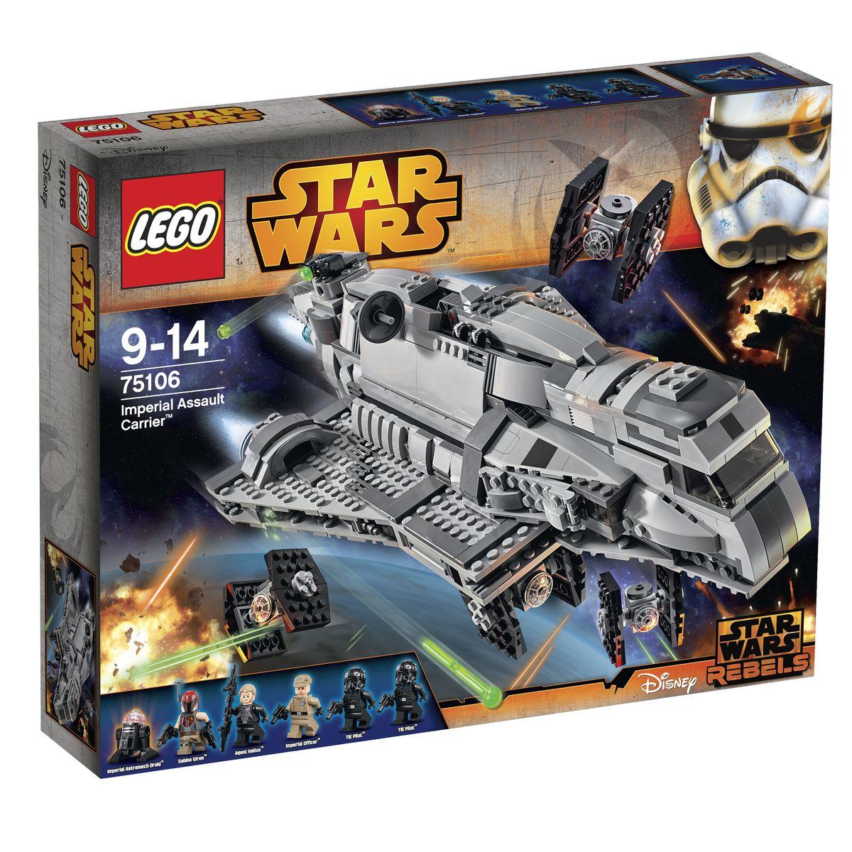 LEGO Star Wars Конструктор Имперский десантный корабль 7510675106Имперский авианосец является чем-то средним между транспортным и боевым кораблем. Его можно встретить даже в самых удаленных уголках Галактики, так как из-за сравнительно невысокой стоимости и возможности модернизации его могли себе позволить не только имперские лидеры, но и частные перевозчики и даже пираты. Из деталей набора LEGO 75106 вы сможете построить реалистичную модель десантного корабля с множеством активных функций. Его вытянутый корпус покрыт бронированными пластинами серого цвета. Спереди располагается кабина пилота, окруженная тонированным стеклом с хорошим обзором. Подняв часть крыши, можно заглянуть внутрь кабины и рассмотреть приборную панель с рычагами управления. Центральную часть корабля занимает вместительный грузовой отсек. Благодаря съемным панелям, образующим стены и крышу, можно рассмотреть его детализированный интерьер, а также разместить внутри мини фигурки, оружие и дополнительное оборудование. Также в грузовом отсеке установлен специальный держатель,...