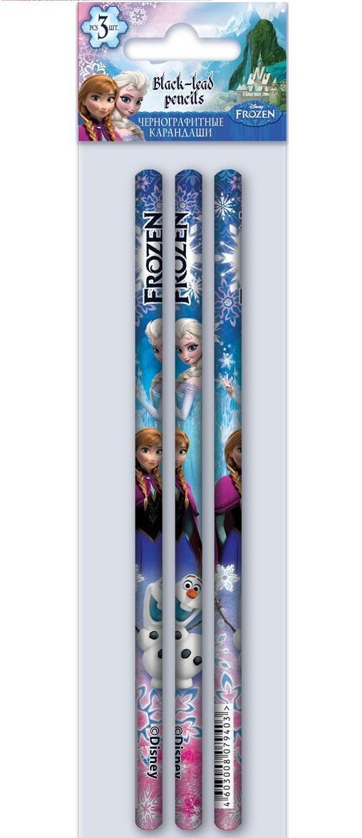 Карандаши ч/г круглые, HB, 3 шт Frozen