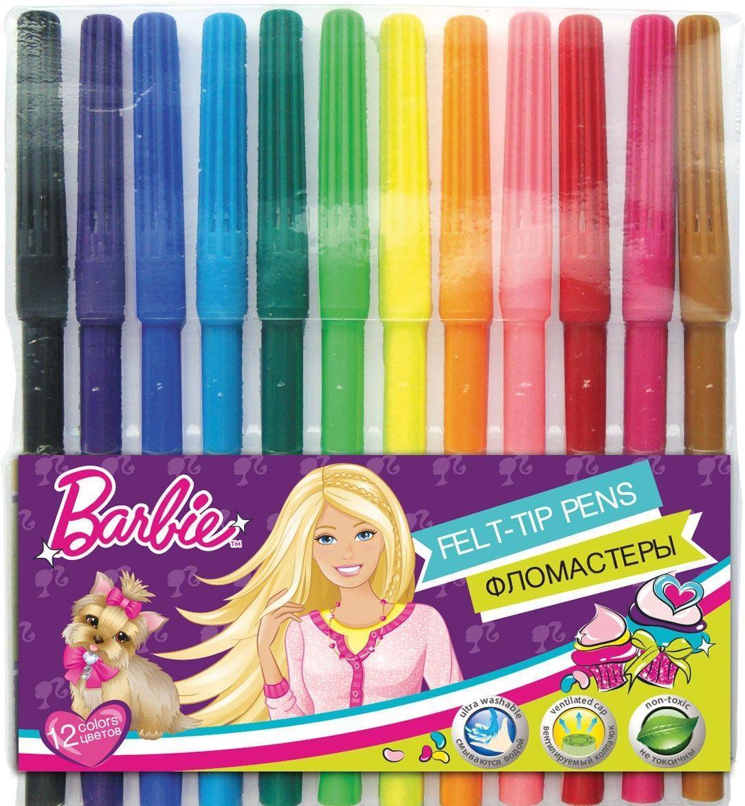 Набор цветных фломастеров, 12 шт BarbieBRCB-US1-1M-12Набор цветных фломастеров, 12 шт. Колпачок - вентилируемый, в цвет наконечника, непрозрачный. На корпусе фломастера - тиснение золотом. Упаковка - пластиковая комбинированная.