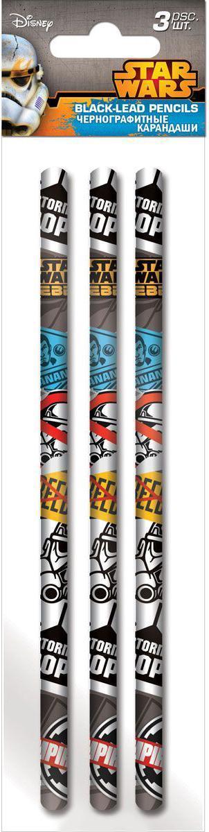 Карандаши ч/г круглые, HB, 3 шт Star WarsSWCB-US1-102-H3Карандаши ч/г круглые, HB, 3 шт. Печать на корпусе - термоперенос. Упаковка - ПП-пакет, европодвес.