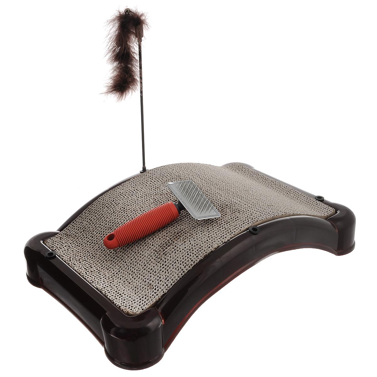 Когтеточка Bradex Царапка, с игрушкой и щеткой для шерстиTD 0101Когтеточка Bradex Царапка, изготовленная из высококачественного пластика и гофрокартона с добавлением кошачьей мяты, поможет сохранить мебель и ковры в доме от когтей вашего любимца, стремящегося удовлетворить свою естественную потребность точить когти. Товар продуман в мельчайших деталях и, несомненно, понравится вашей кошке. Компактная когтеточка обладает достаточно широкой поверхностью для стачивания коготков, что подарит вашей кошке свободу передвижения на ней, возможность потянуть спинку или выгнуться. Кроме того, во время царапания происходит нагрузка на мышечный аппарат, что является прекрасной физической тренировкой для животного. А также на когтеточке Bradex Царапка стачиваются старые омертвевшие слои когтей, что благотворно влияет на здоровье и настроение питомца. Это намного безопаснее, чем подстригать когти ножницами или специальными щипцами, рискуя повредить ногтевую пластину и причинить животному дискомфорт. Встроенная в...