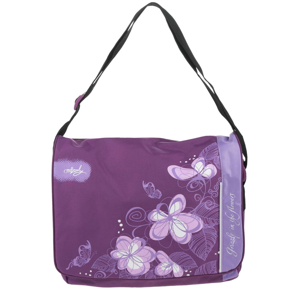 Сумка молодежная Grizzly, цвет: фиолетовый. MD-353-3MD-353-3/1Оригинальная молодежная сумка Grizzly выполнена из текстиля, оформлена ярким принтом с изображением цветов. Изделие содержит одно главное отделение, которое застегивается на молнию и дополнительно застегивается на липучки, внутри вшитый карман на молнии. Снаружи в стенке сумки размещен накладной карман на молнии, накладной карман и пять накладных карманов для ручек и телефона. Сумка оснащена широким плечевым ремнем, длина которого регулируется пряжкой. Такая сумка подчеркнет ваш образ и выделит вас из толпы.