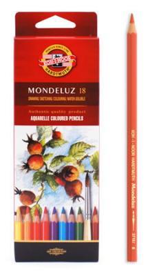 Набор карандашей акварельных MONDELUZ, 18 цв3717/18Высококачественные цветные акварельные (размываемые водой) карандаши. Яркие и насыщенные цвета, линии мягко ложатся на бумагу. Грифель устойчив к механическим деформациям, легко затачивается. Древесина - кедр. Покрытие - цветной лак на водной основе, тиснение золотом.