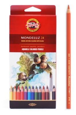 Набор карандашей акварельных MONDELUZ, 24 цв3718/24Высококачественные цветные акварельные (размываемые водой) карандаши. Яркие и насыщенные цвета, линии мягко ложатся на бумагу. Грифель устойчив к механическим деформациям, легко затачивается. Древесина - кедр. Покрытие - цветной лак на водной основе, тиснение золотом.