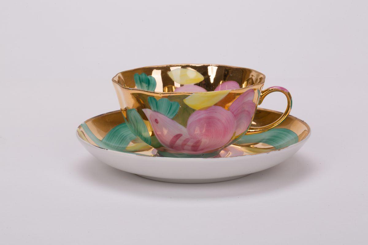 Чашка чайная с блюдцем 220 мл Тюльпан Розовая птица00712Чашка чайная с блюдцем 220 мл Тюльпан Розовая птица