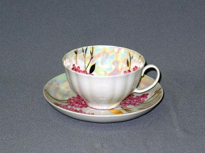 Чашка чайная с блюдцем 275 мл Белый лебедь Розовая сирень03305Чашка чайная с блюдцем 275 мл Белый лебедь Розовая сирень