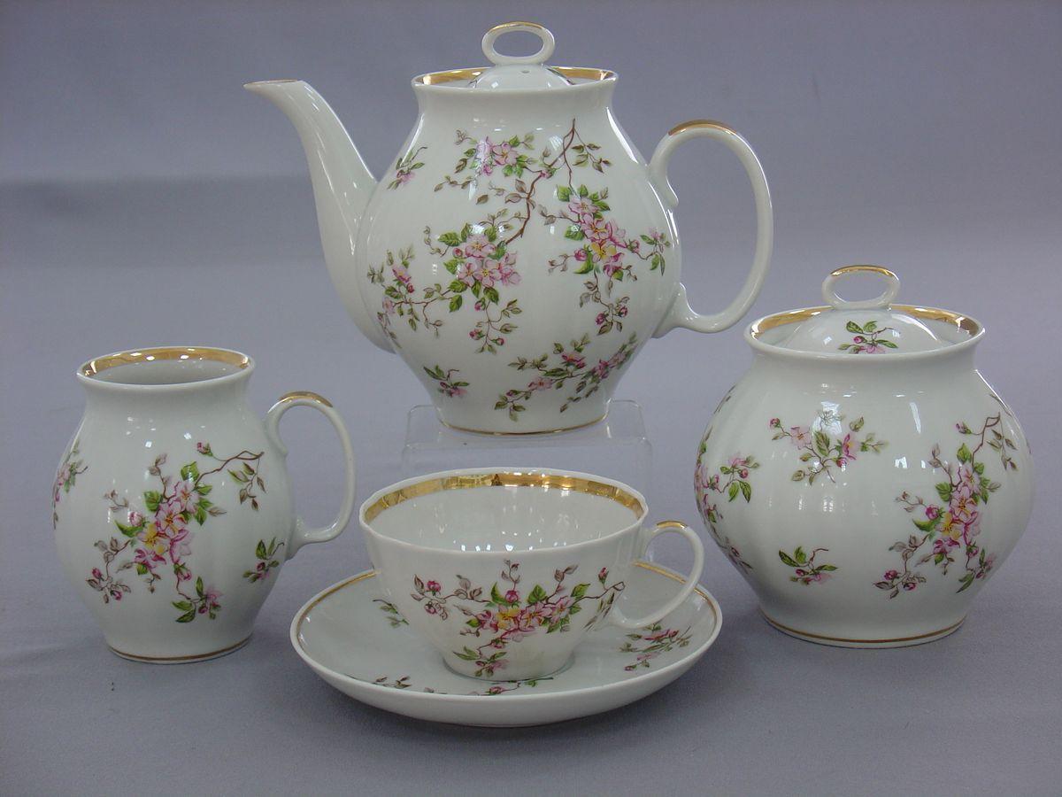 Сервиз чайный 15 пред .Белый лебедь ЦветениеС2403Сервиз чайный 15 пред .Белый лебедь Цветение