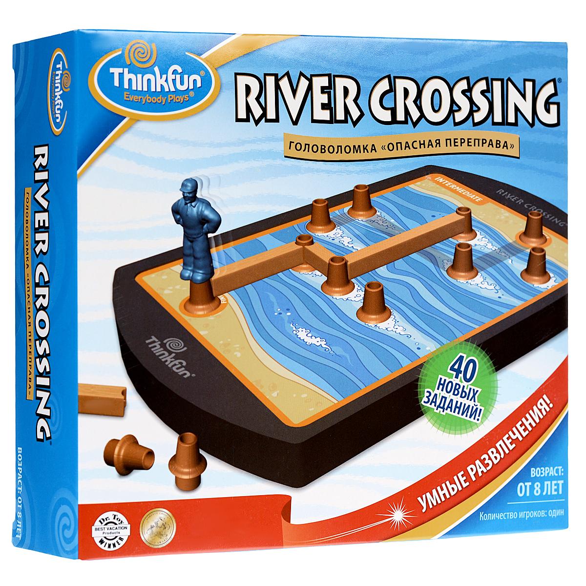 Thinkfun Головоломка Опасная переправа7020-RUУвлекательная головоломка Thinkfun Опасная переправа позволит ребенку весело и с пользой провести время. Настольная игра-головоломка Опасная переправа включает в себя игровое поле, 26 элементов головоломки в виде пеньков и досок, фигурку туриста, а также 40 карточек с заданиями различной сложности, от начинающего до эксперта. Как играть: Выберите карточку с заданием, положите ее на игровое поле и вставьте пеньки в свободные места. Начните с легких уровней, чтобы подготовиться к прохождению сложных! Цель игры: Постройте мостик из пеньков и досок, чтобы перейти на другой берег реки. Будьте сосредоточены - задания не так просты! Вам придется планировать ваши ходы наперед, иначе вы можете застрять посередине реки! В комплект входит мешочек для хранения игровых принадлежностей. Такая игра надолго займет ребенка, и поможет ему раскрыть свой потенциал, научит его логическому мышлению и поспособствует развитию мелкой моторики.