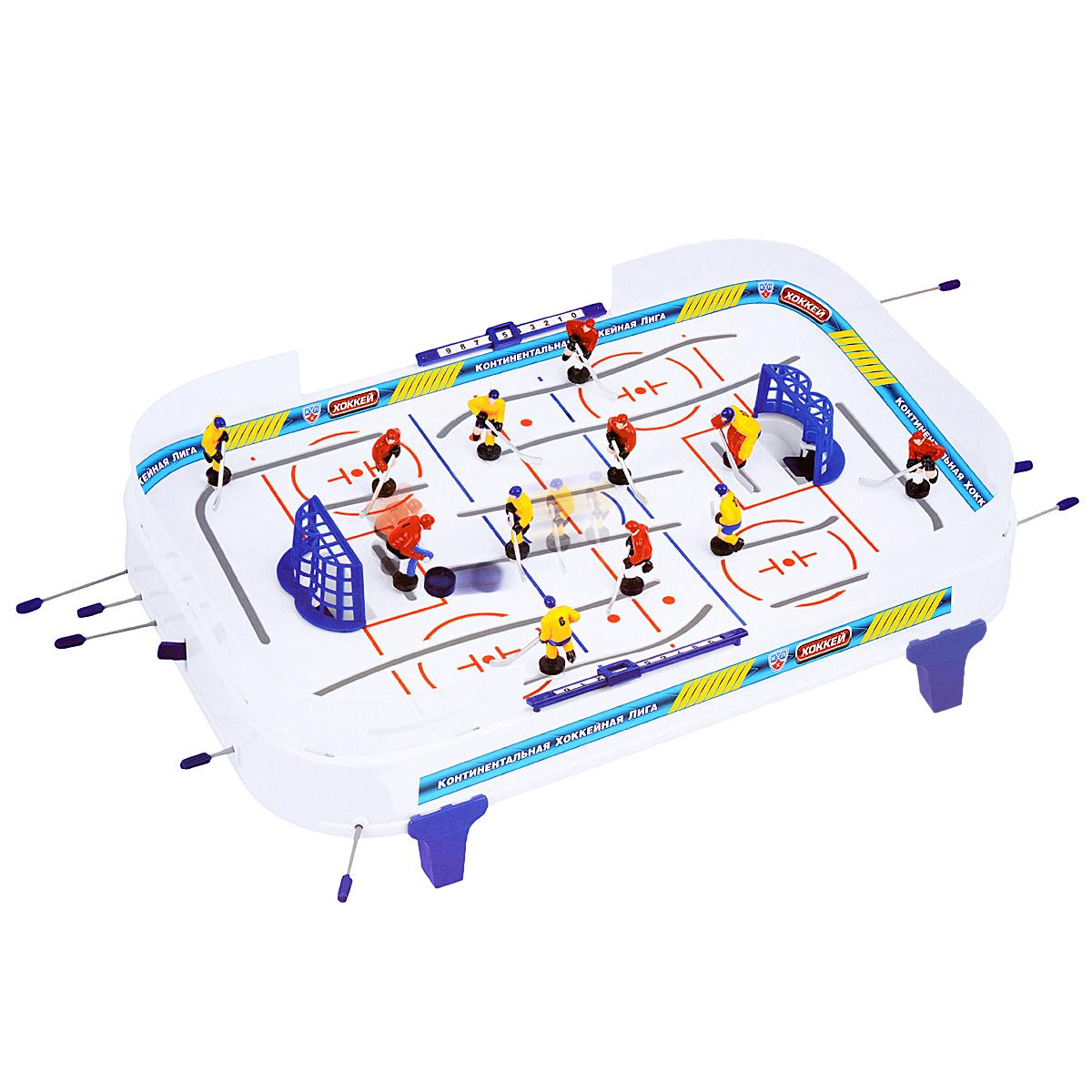 Настольная игра КХЛ Хоккей68200Настольная игра КХЛ Хоккей станет отличным подарком не только ребенку, но и взрослому, любящему спортивные игры. Игра состоит из игрового поля с воротами, на котором располагаются две хоккейные команды по шесть игроков в каждой: вратарь, правый, левый и центральный нападающие и два защитника, шайбы. Игровое поле обрамлено барьером и может устанавливаться на специальные ножки. Игроки с помощью рукояток управляют фигурками хоккеистов, установленными на стержнях, стремясь забить шайбу в ворота противника. Игра вырабатывает быстроту реакции, меткость и точность движений и предназначена для игры в домашних, школьных и клубных условиях.