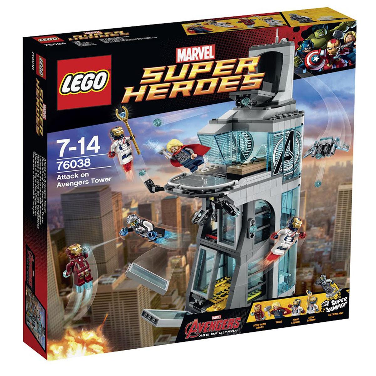 LEGO Super Heroes Конструктор Нападение на башню Мстителей 7603876038Пока Герои отдыхают на вечеринке, Башню Мстителей внезапно атакует изнутри Альтрон! Злобный Альтрон собрал себя в лаборатории и выбивает окна. Помоги Железному человеку и Тору победить Альтрона и Железный легион, попавший под его влияние. Железный легион выбивает двери и окна в комнате роботов на первом этаже. Кто-то украл Скипетр Локи из лаборатории - преследуй его с помощью Тора, целься с крыши башни и стреляй из секретного спрятанного беспилотника шипованными шутерами. Найди скипетр и победить Альтрона! Этот красочный игровой набор содержит 511 пластиковых элементов для сборки, 5 фигурок и инструкцию по сборке. Конструктор - это один из самых увлекательнейших и веселых способов времяпрепровождения. Ребенок сможет часами играть с конструктором, придумывая различные ситуации и истории. В процессе игры с конструкторами LEGO дети приобретают и постигают такие необходимые навыки как познание, творчество, воображение. Обычные наблюдения за детьми показывают, что...