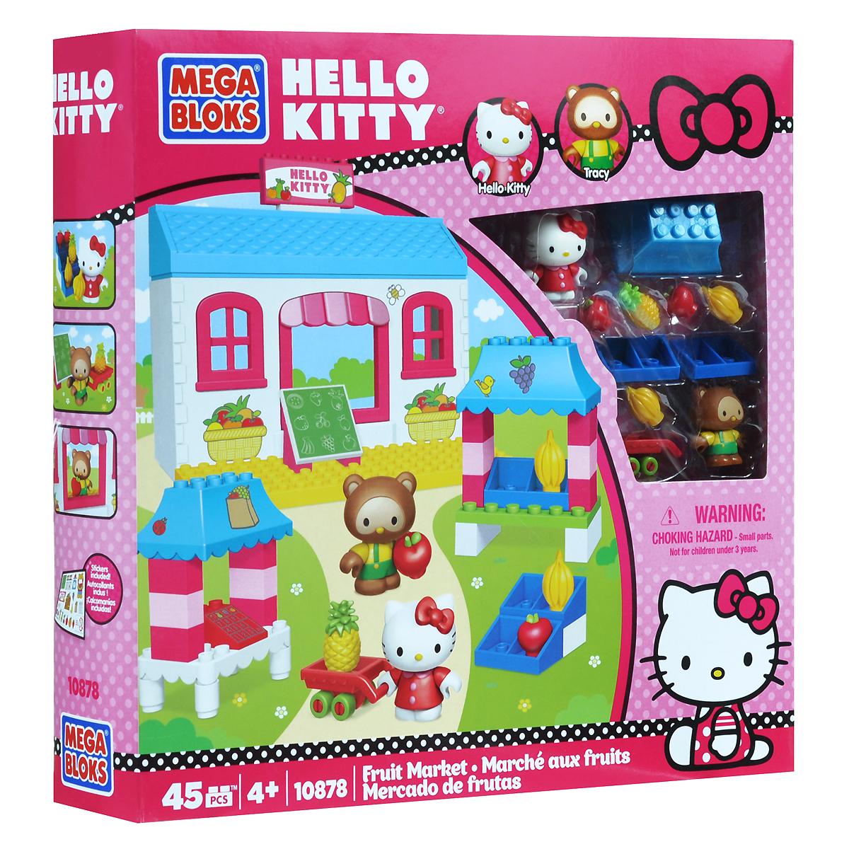 Mega Bloks Hello Kitty Конструктор Фруктовый рынок10878-rynok/ast10823(10878,10879,10918)Когда кошечка Китти отправляется за покупками, она обязательно заглядывает во фруктовую лавку, которую держит ее друг, медведь Трейси. Вдруг он припас что-то самое свежее и вкусное специально для своей постоянной покупательницы? Набор-конструктор Mega Bloks Hello Kitty: Фруктовый рынок включает 45 пластиковых элементов, в том числе фигурки кошечки Китти и мишки Трейси и другие аксессуары. Также в наборе схематичная инструкция по сборке конструктора. Ваша малышка часами будет играть с набором, придумывая различные истории.