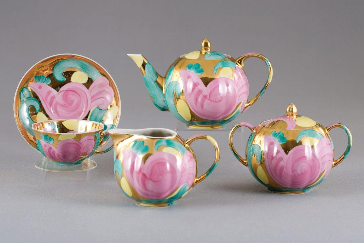 Сервиз чайный 15 предм. Тюльпан Розовая птицаС137Сервиз чайный 15 предм. Тюльпан Розовая птица фарфор