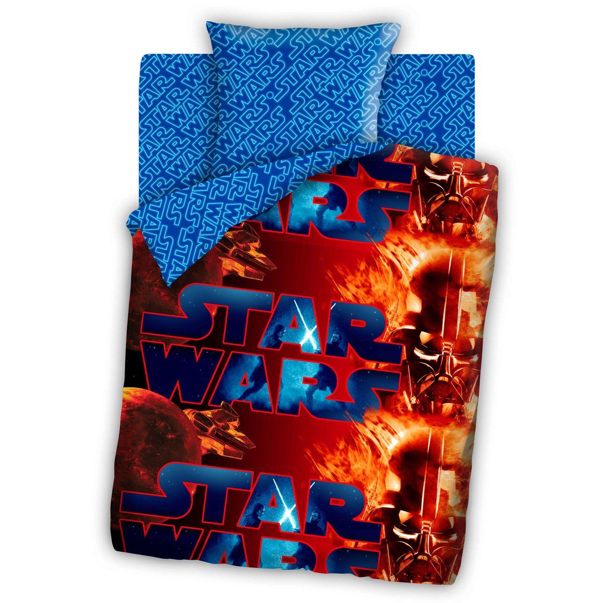 Star Wars Комплект детского постельного белья Дарт Вейдер (1,5-спальный КПБ, бязь, наволочка 70х70)293374Комплект постельного белья Star Wars Дарт Вейдер, 1,5-спальный, состоящий из наволочки, простыни и пододеяльника, выполнен из 100% хлопка и оформлен изображением героя саги Star Wars Дарта Вейдера. Это постельное белье абсолютно натуральное, гипоаллергенное, соответствует строжайшим экологическим нормам безопасности, комфортное, дышащее, не нарушает естественные процессы терморегуляции, прочное, не линяет, не деформируется и не теряет своих красок даже после многочисленных стирок, а также отличается хорошей износостойкостью. Такой комплект идеально подойдет для кровати вашего ребенка. На нем ваш малыш будет спать здоровым и крепким сном. В подарок к комплекту идет воблер с изображением героев Star Wars.