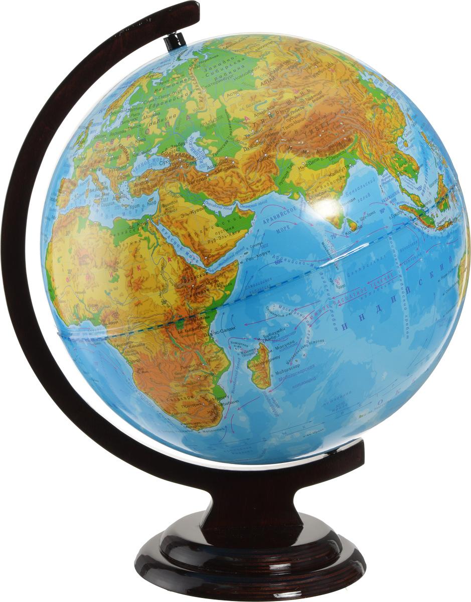 Глобусный мир Глобус с физической картой мира диаметр 32 см 1001610016Глобус с физической картой мира Глобусный мир, изготовленный из высококачественного прочного пластика, показывает страны мира, сухопутные и морские границы того или иного государства, расположение городов и населенных пунктов. На нем отображены картографические линии: параллели и меридианы, а также градусы и условные обозначения. На глобусе имеются направления, названия подводных течений и ветров, а также отметки глубин, шкала высот и глубин в метрах, зимняя граница плавучих льдов, отметки высот над уровнем моря. С помощью данного глобуса можно получить правильное представление о форме, размерах, расположении материков, океанов, островов, морей и рек. Названия стран на глобусе приведены на русском языке. Помимо этого глобус обладает приятной цветовой гаммой. Изделие расположено на деревянной подставке и легко вращается вокруг своей оси. Настольный глобус с физической картой Глобусный мир станет оригинальным украшением рабочего стола или вашего...