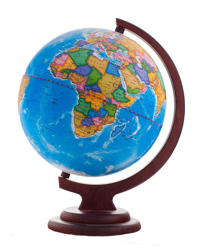 Глобус политический диаметр 250 мм на деревянной подставке10028