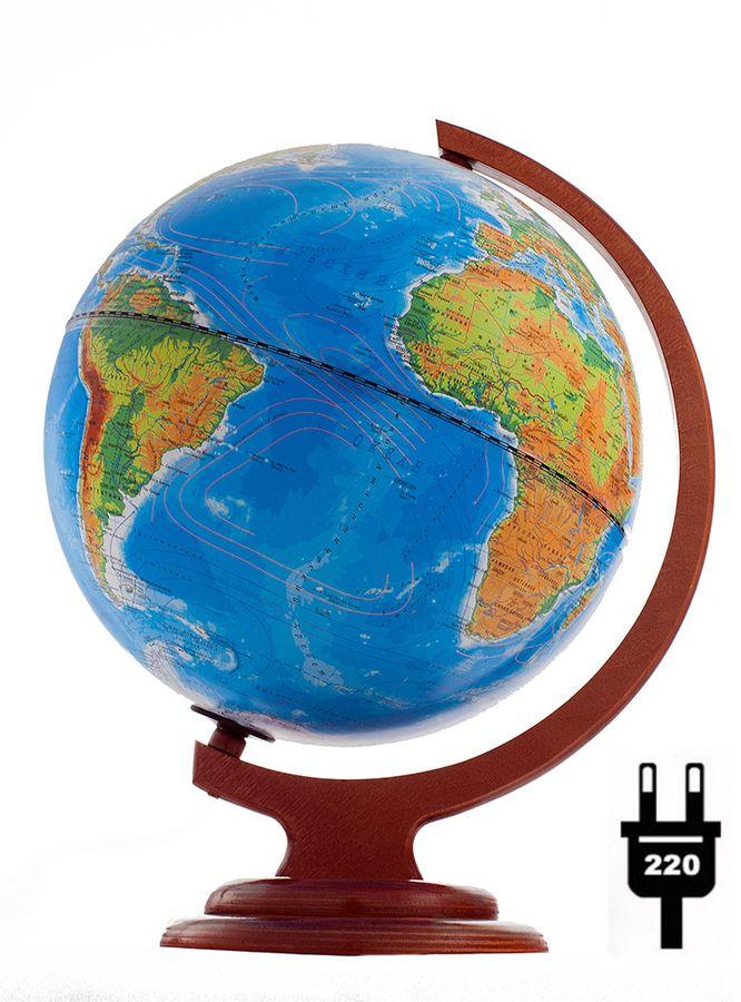 Глобус физический/политический диаметр 250 мм на деревянной подставке с подсветкой