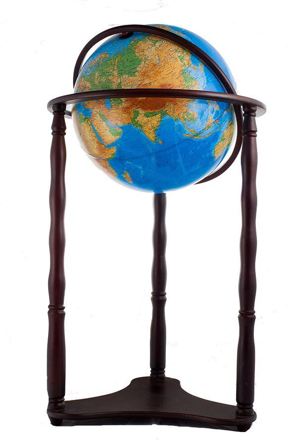 Глобус физический диаметр 420 мм на деревянной подставке напольный