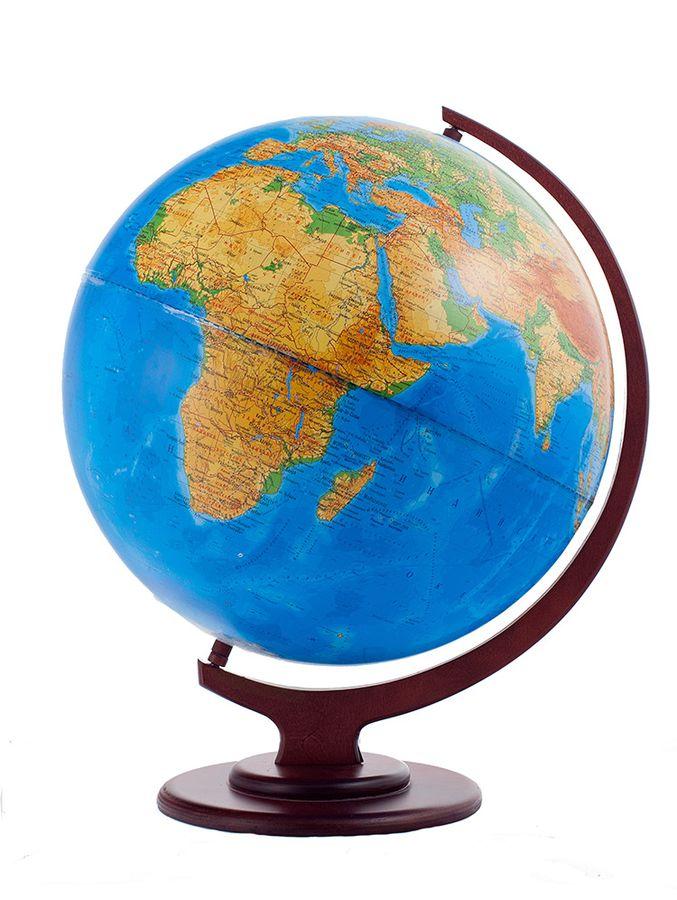 Глобус физический диаметр 420 мм на деревянной подставке настольный10170