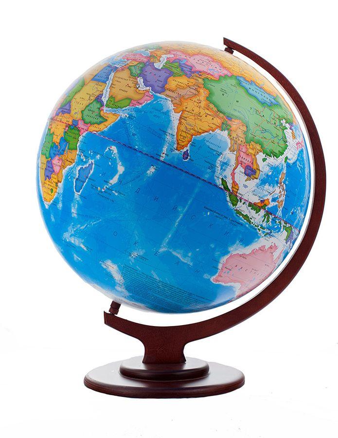 Глобус политический диаметр 420 мм на деревянной подставке настольный