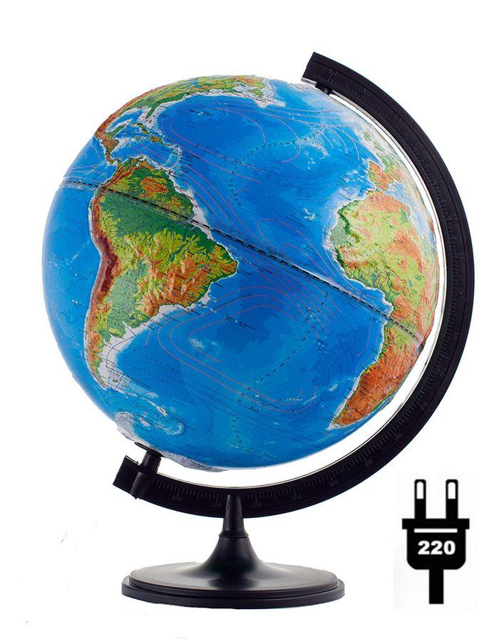 Глобусный мир Глобус с физической/политической картой мира рельефный диаметр 32 см с подсветкой