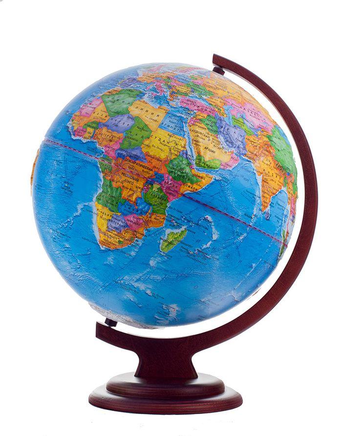 Глобус политический рельефный диаметр 320 мм на деревянной подставке