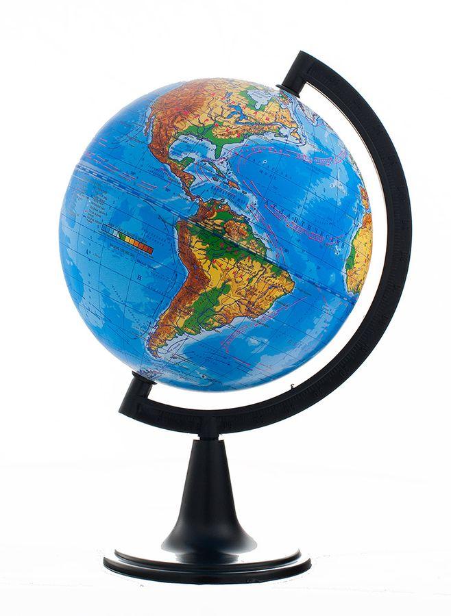 Глобусный мир Глобус с физической картой, рельефный, диаметр 15 см10335Глобус с физической картой Глобусный мир, изготовленный из высококачественного прочного пластика, показывает страны мира, сухопутные и морские границы того или иного государства, расположение городов и населенных пунктов. На нем отображены картографические линии: параллели и меридианы, а также градусы и условные обозначения. На глобусе имеются направления, названия подводных течений и ветров. С помощью данного глобуса можно получить правильное представление о форме, размерах, расположении материков, океанов, островов, морей и рек. Модель имеет рельефную выпуклую поверхность, что, в свою очередь, делает глобус особенно интересным для детей младшего школьного и дошкольного возрастов. Названия стран на глобусе приведены на русской язык. Помимо этого глобус обладает приятной цветовой гаммой. Изделие расположено на подставке. Настольный глобус с физической картой Глобусный мир станет оригинальным украшением рабочего стола или вашего кабинета. Это изысканная вещь...