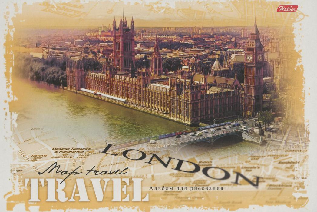 Альбом для рисования Hatber Travel. London, 32 листа, формат А432А4BспАльбом для рисования Hatber Travel. London непременно порадует маленького художника и вдохновит его на творчество. Альбом изготовлен из белоснежной шелковисто-матовой бумаги с яркой обложкой из мелованного картона. В альбоме 32 листа с перфорацией, способ крепления - спираль. Высокое качество бумаги позволяет рисовать в альбоме карандашами, фломастерами, акварельными и гуашевыми красками. Рисование позволяет ребенку развивать творческие способности, кроме того, это увлекательный досуг.