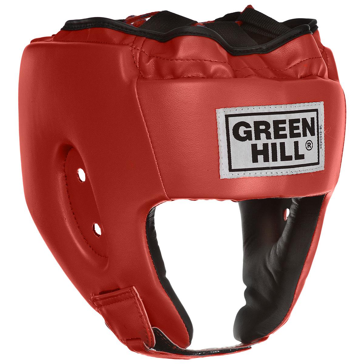 Шлем боксерский Green Hill Alfa, цвет: красный. Размер XL (61-63 см)HGA-4014Боксерский шлем Green Hill Alfa предназначен для защиты головы от повреждений во время занятий боксом и кикбоксингом. Подходит как для тренировок, так и для соревнований. Выполнен из высококачественной искусственной кожи. Шлем имеет двойную систему крепления, которая крепко удерживает его на голове: шнуровка сверху, застежка на липучке на затылке и под подбородком. Крепления регулируемые, благодаря чему шлем можно подогнать четко под свой размер. Обеспечивает достаточную защиту и обзор во время поединка.