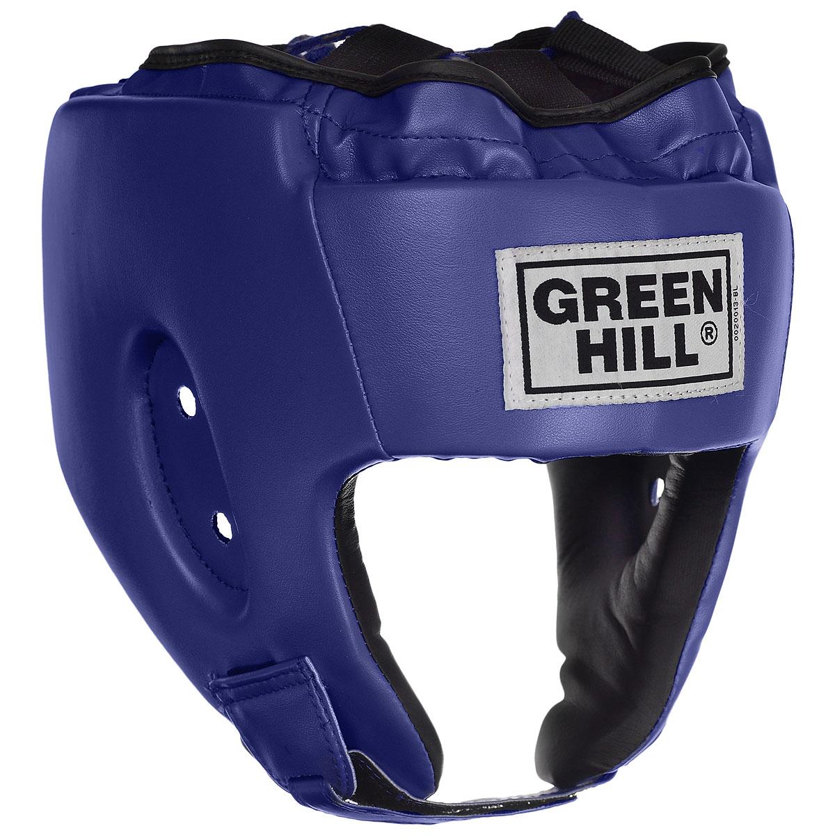 Шлем боксерский Green Hill Alfa, цвет: синий. Размер L (57-60 см)HGA-4014Боксерский шлем Green Hill Alfa предназначен для защиты головы от повреждений во время занятий боксом и кикбоксингом. Подходит как для тренировок, так и для соревнований. Выполнен из высококачественной искусственной кожи. Шлем имеет двойную систему крепления, которая крепко удерживает его на голове: шнуровка сверху, застежка на липучке на затылке и под подбородком. Крепления регулируемые, благодаря чему шлем можно подогнать четко под свой размер. Обеспечивает достаточную защиту и обзор во время поединка.