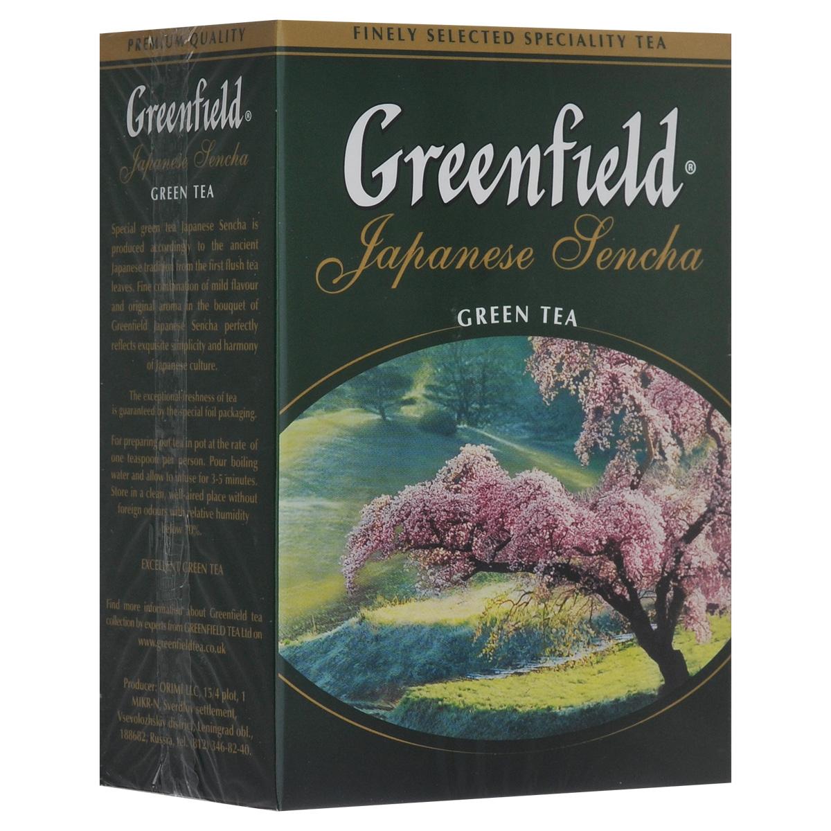 Greenfield Japanese Sencha зеленый листовой чай, 100 г0612-16Японский зеленый чай из провинции Фукуока. Изготавливается по особой технологии: на несколько дней перед сбором чайные кусты затеняют тростниковым или бамбуковым покрытием, чтобы усилить ароматические свойства чая. Собранные чайные листочки не сушат, как принято в других «чайных» странах, а обрабатывают паром и слегка сплющивают, поэтому на вид готовая сенча напоминает остренькие зеленые иголочки. А климатические условия страны, островное расположение плантаций, особенности почв, дают чаю самобытный сложный вкусовой букет. Джапаниз Сенча - необычный чай, в нем явно ощущается тонкий сливочный вкус и легкий аромат моря - так может пахнуть соленый прибой.