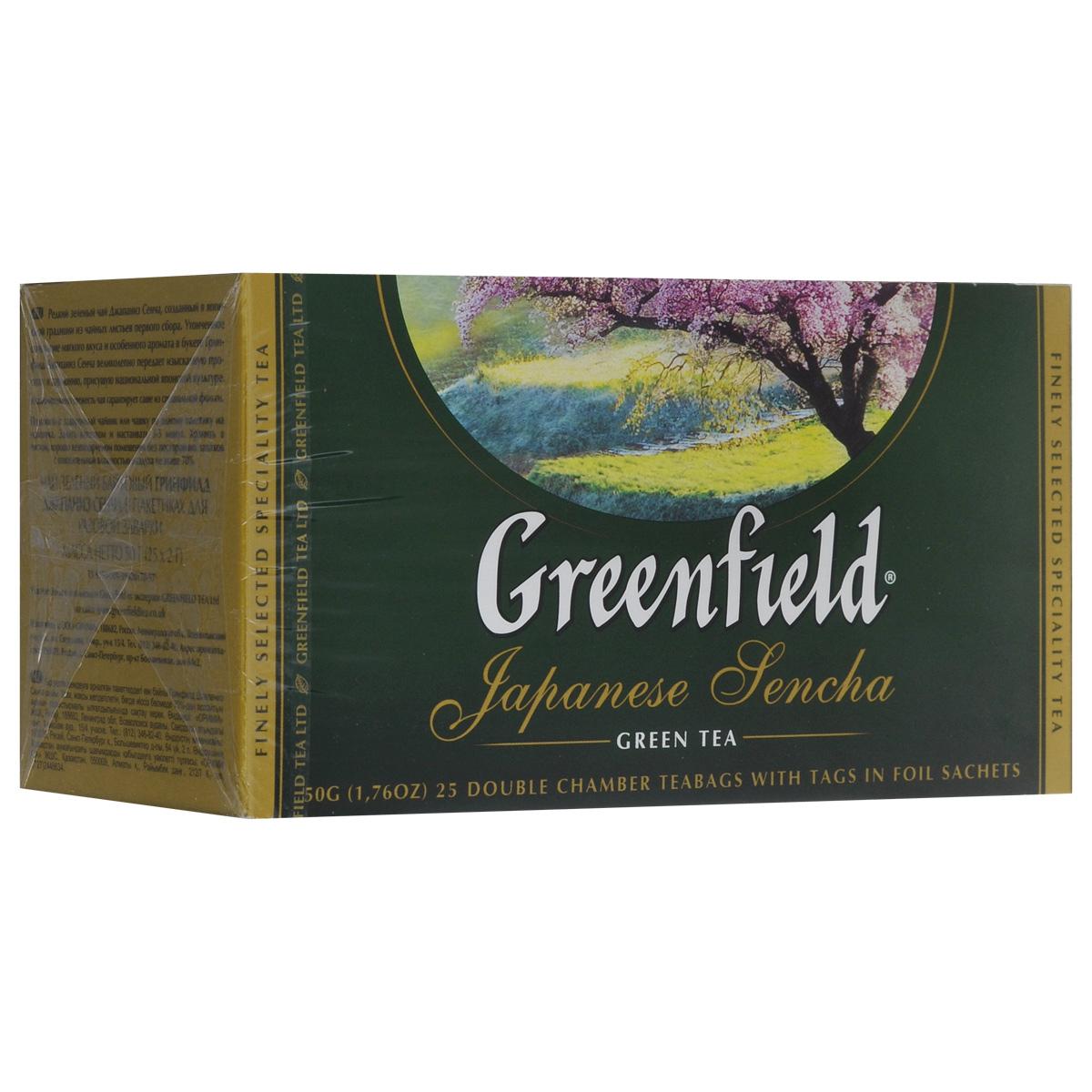 Greenfield Japanese Sencha зеленый чай в пакетиках, 25 шт0535-15Японский зеленый чай из провинции Фукуока. Изготавливается по особой технологии: на несколько дней перед сбором чайные кусты затеняют тростниковым или бамбуковым покрытием, чтобы усилить ароматические свойства чая. Собранные чайные листочки не сушат, как принято в других «чайных» странах, а обрабатывают паром и слегка сплющивают, поэтому на вид готовая сенча напоминает остренькие зеленые иголочки. А климатические условия страны, островное расположение плантаций, особенности почв, дают чаю самобытный сложный вкусовой букет. Джапаниз Сенча - необычный чай, в нем явно ощущается тонкий сливочный вкус и легкий аромат моря - так может пахнуть соленый прибой.