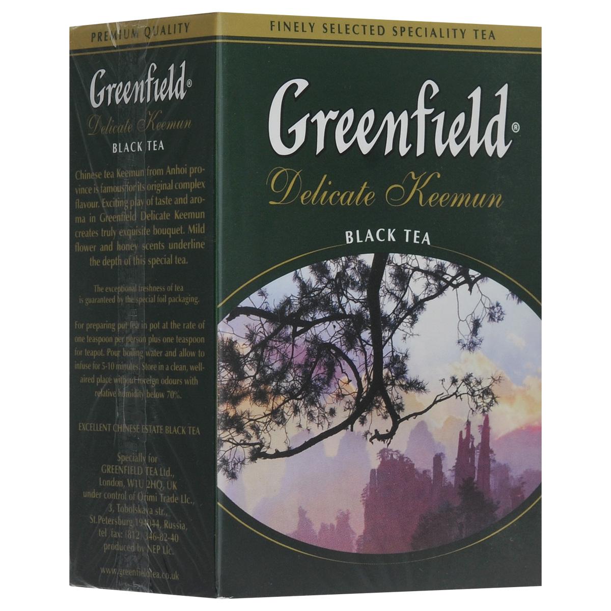 Greenfield Delicate Keemun черный листовой чай, 100 г0465-16Волнующая игра сложных оттенков и полутонов в букете Greenfield Delicate Keemun создает изысканное равновесие вкуса и аромата, присущее знаменитым чаям из китайской провинции Анхой. Тонкий аромат с легкой медовой нотой подчеркивает глубину спелого, плотного вкуса Greenfield Delicate Keemun.