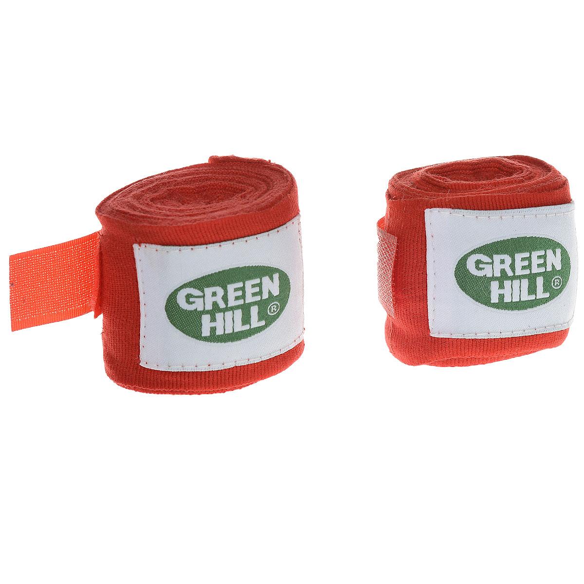Бинты боксерские Green Hill, эластик, цвет: красный, 2,5 м, 2 штВР-6232-25Бинты Green Hill предназначены для защиты запястья во время занятий боксом. Изготовлены из высококачественного хлопка с добавлением эластана. Бинты надежно закрепляются на руке застежкой на липучке. Длина бинтов: 2,5 м.