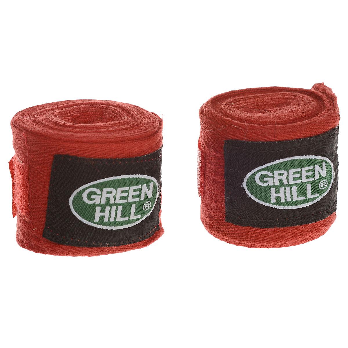 Бинты боксерские Green Hill, хлопок, цвет: красный, 2,5 м, 2 штВС-6235-25Бинты Green Hill предназначены для защиты запястья во время занятий боксом. Изготовлены из высококачественного хлопка. Бинты надежно закрепляются на руке застежкой на липучке. Длина бинтов: 2,5 м.
