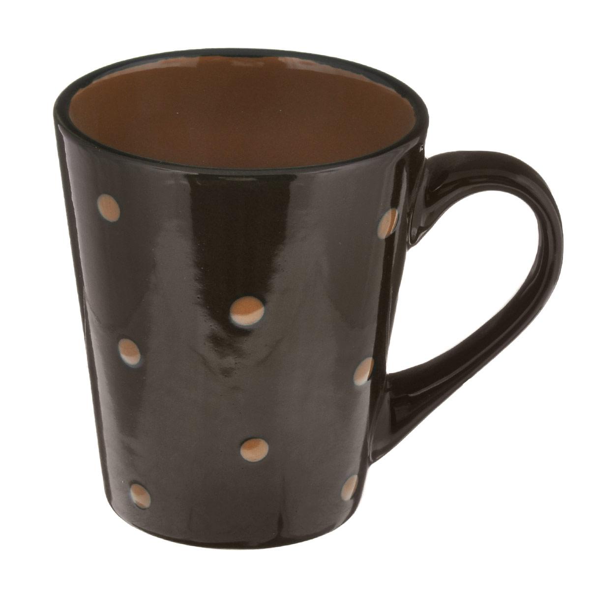 Кружка Горошек, цвет: темно-коричневый, 300 млHV95506BRКружка Горошек изготовлена из высококачественной керамики. Первоклассная глина, двухступенчатый обжиг, мягкие краски и простой контрастный рисунок в горошек на глянцевой поверхности - отличительные особенности данного изделия. Такая кружка прекрасно подойдет для горячих напитков. Она дополнит коллекцию вашей кухонной посуды и будет служить долгие годы. Можно использовать в посудомоечной машине и СВЧ. Поверхность не царапается при щадящем мытье, без использования абразивов и химически агрессивных моющих средств. Объем: 300 мл. Диаметр кружки (по верхнему краю): 8 см. Высота стенки кружки: 10,5 см.