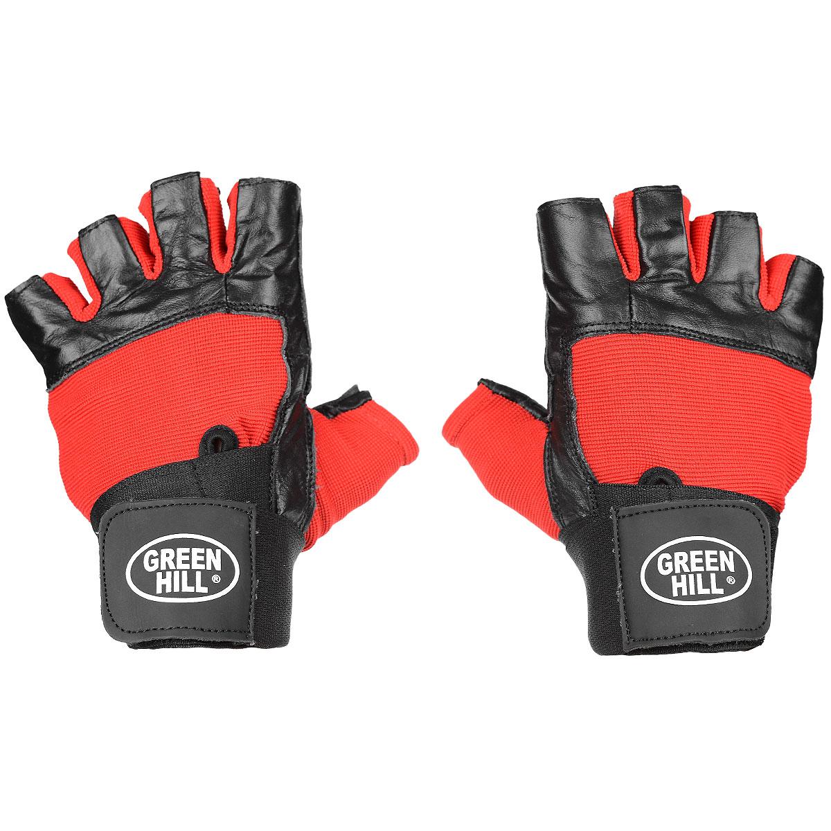 Перчатки тяжелоатлетические Green Hill, цвет: черный, красный. Размер XLWLG-6411Тяжелоатлетические перчатки без пальцев Green Hill предназначены для тяжелой атлетики и занятий фитнесом. Они защищают ладонь и пальцы рук от натирания, ушибов и прочих повреждений. Перчатки выполнены из натуральной кожи со вставками из полиэстера. Внутри имеется специальная противоскользящая подкладка. На запястье перчатка фиксируется прочной липучкой. Длинный эластичный ремешок обеспечит комфорт и надежную фиксацию перчатки на руке даже при больших нагрузках.