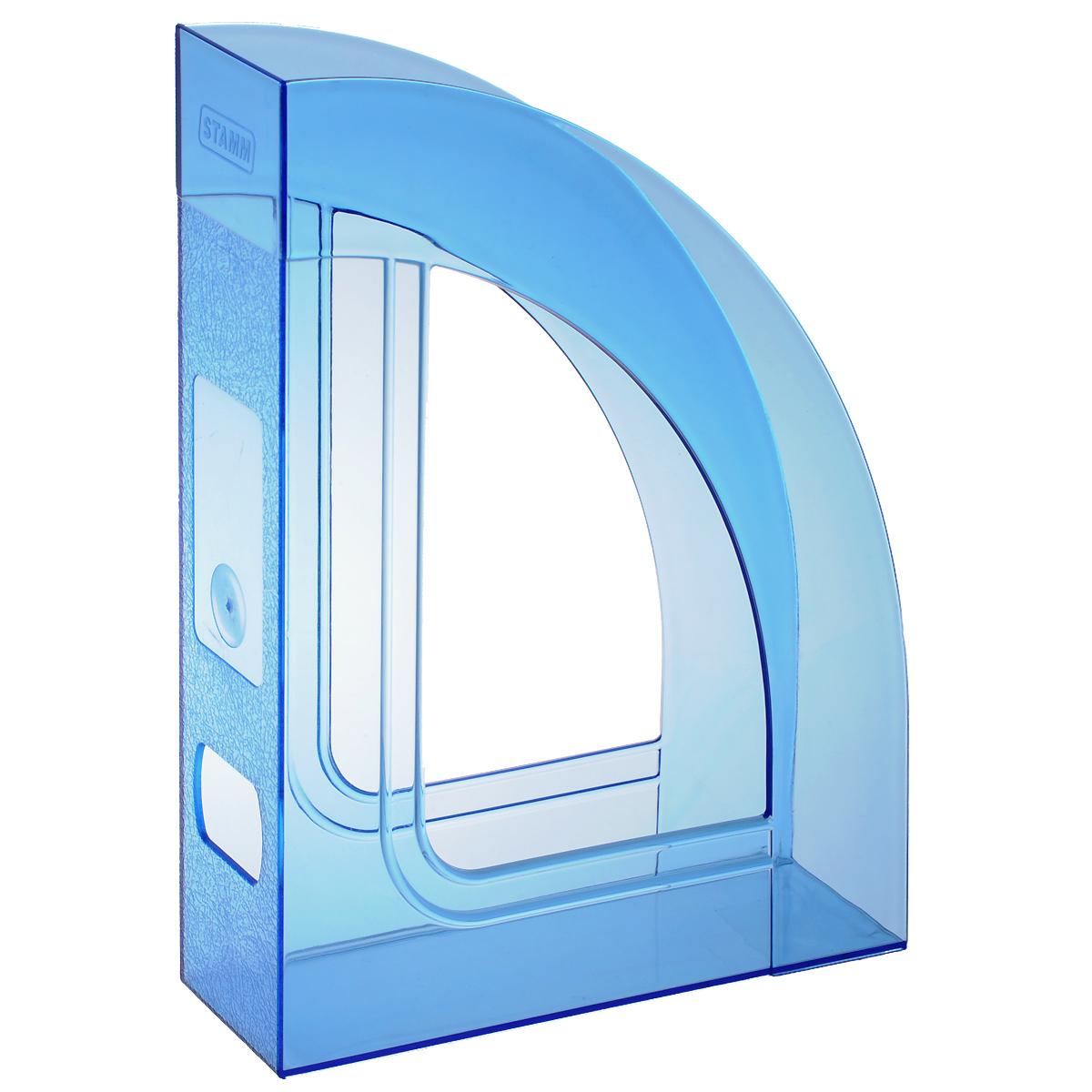 Лоток для бумаг вертикальный Стамм Респект, прозрачный, цвет: голубой. ЛТ146ЛТ146Лоток для бумаг Стамм Респект выполнен в современном элегантном дизайне из высококачественного прочного пластика. Одно вместительное отделение для листов формата А4 с глянцевыми боковые стенками скошенной формы. Задняя стойка украшена матовым морозным рисунком, с окошком для наклеивания этикетки. Этикетка прилагается. Лоток для бумаг станет незаменимым помощником для работы с бумагами дома или в офисе, а его стильный дизайн впишется в любой интерьер. Благодаря лотку для бумаг, важные бумаги и документы всегда будут под рукой.