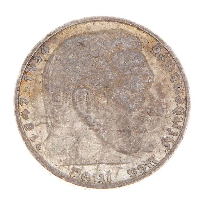 Монета 5 рейхсмарок (Гинденбург). Белый металл. Германия (Третий рейх), 1938 год691503Монета 5 рейхсмарок (Гинденбург). Белый металл. Германия (Третий рейх), 1938 год. Диаметр: 3 см. Гурт с надписью: Gemeinnutz geht vor Eigennutz. Сохранность хорошая.