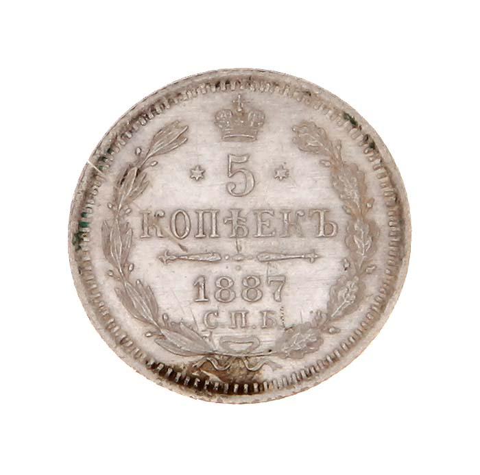 Монета 5 копеек. СПБ АГ. Российская империя, 1887 год691503Монета 5 копеек. СПБ АГ. Российская империя, 1887 год. Диаметр 1,5 см. Вес 0,9 г. Гурт рифленый. Сохранность очень хорошая.