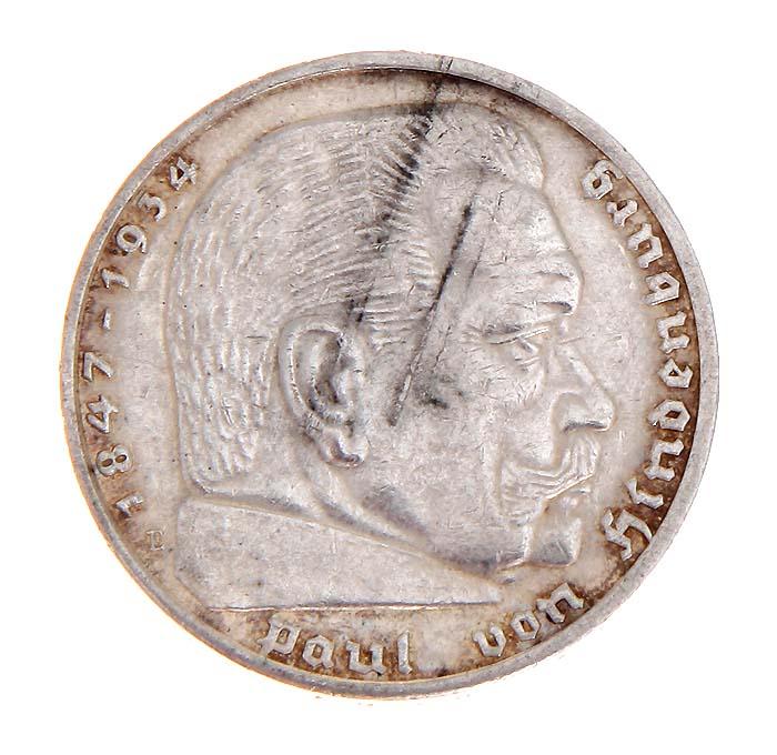 Монета 5 рейхсмарок (Гинденбург). Белый металл. Германия (Третий рейх), 1936 год691503Монета 5 рейхсмарок (Гинденбург). Белый металл. Германия (Третий рейх), 1936 год. Диаметр: 3 см. Гурт с надписью: Gemeinnutz geht vor Eigennutz. Сохранность очень хорошая.