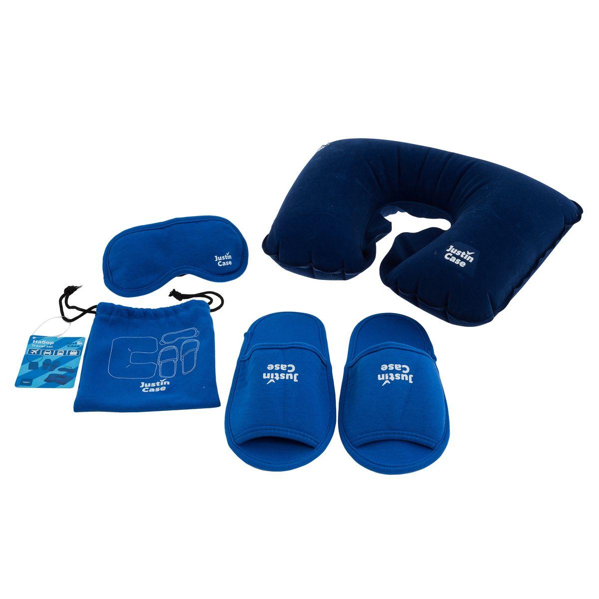 Набор для путешествия JustinCase, цвет: голубойT5117Универсальный набор для путешествий JustinCase включает в себя надувную подушку, маску для сна, и тапочки - все что нужно для идеального путешествия. Предметы набора приятные на ощупь, выполнены из высококачественных материалов. Набор очень компактен в сложенном виде и помещается в небольшую сумку, закрывающуюся на затягивающиеся шнурки. Длина тапочек: 24,6 см.