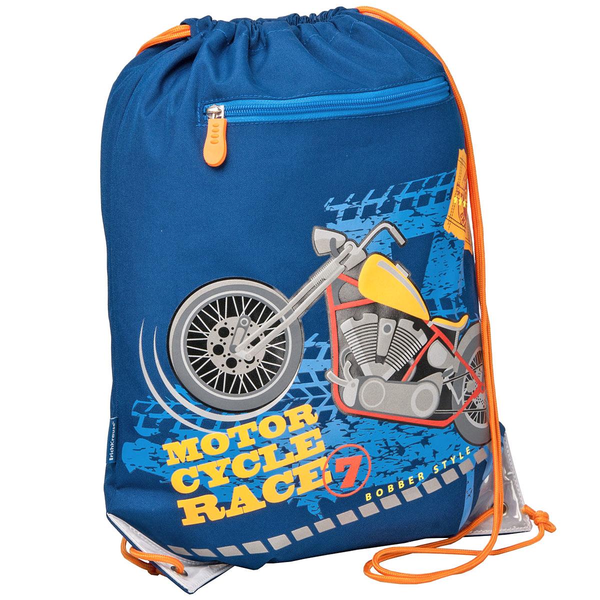 Erich Krause Сумка для сменной обуви Motorcycle цвет темно-синий оранжевый37101Сумку Erich Krause Motorcycle удобно использовать как для хранения, так и для переноски сменной обуви. Яркая сумка выполнена из высококачественного прочного полиэстера и оформлена термоаппликацией в виде мотоцикла. Сумка затягивается сверху при помощи текстильных шнурков. Шнурки фиксируются в нижней части сумки, благодаря чему ее можно носить за спиной как рюкзак. Светоотражающие вставки на сумке не оставят вашего ребенка незамеченным в темное время суток. Рекомендуемый возраст: от 6 лет.