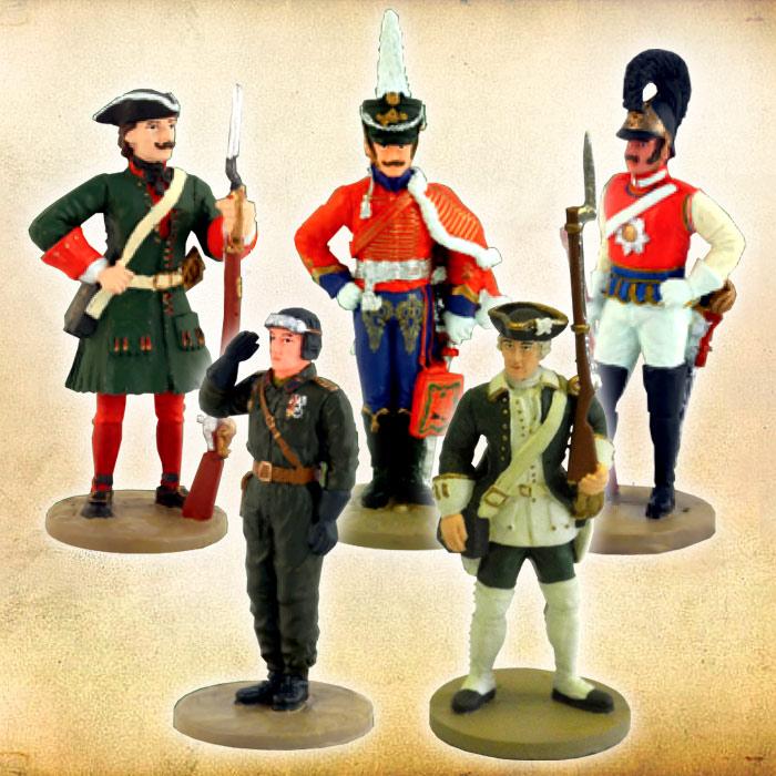 Коллекционный набор из 5 фигурок солдатиковRSBUNDLПрекрасным дополнением к вашей коллекции станет набор из 5 фигурок солдатиков от ДеАгостини. Каждая из них выполнена реалистично, вплоть до мельчайших деталей, в соответствии со своим историческим прототипом. В наборе вас ожидают: -Офицер лейб-гвардии Гусарского полка 1809-1812гг. - Гардемарин Морского кадетского корпуса 1752г. - Рядовой Кавалергардского полка 1841-1845гг. - Капитан гвардейского бронетанкового полка РККА 1945г. - Фузилер Лейб-Гвардии Преображенского полка 1700-1708гг.