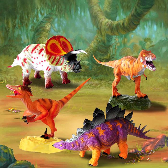 Коллекционный набор из 4 фигурок динозавровJHBUNDLEЯркие и динамичные фигурки динозавров станут прекрасным дополнением к коллекции юных палеонтологов. В набор входят фигурки тираннозавра рекс, велоцираптора, трицератопса, стегозавра. Изображения данных представителей давно ушедших времен выполнены в соответствии с научными реконструкциями их внешнего вида.