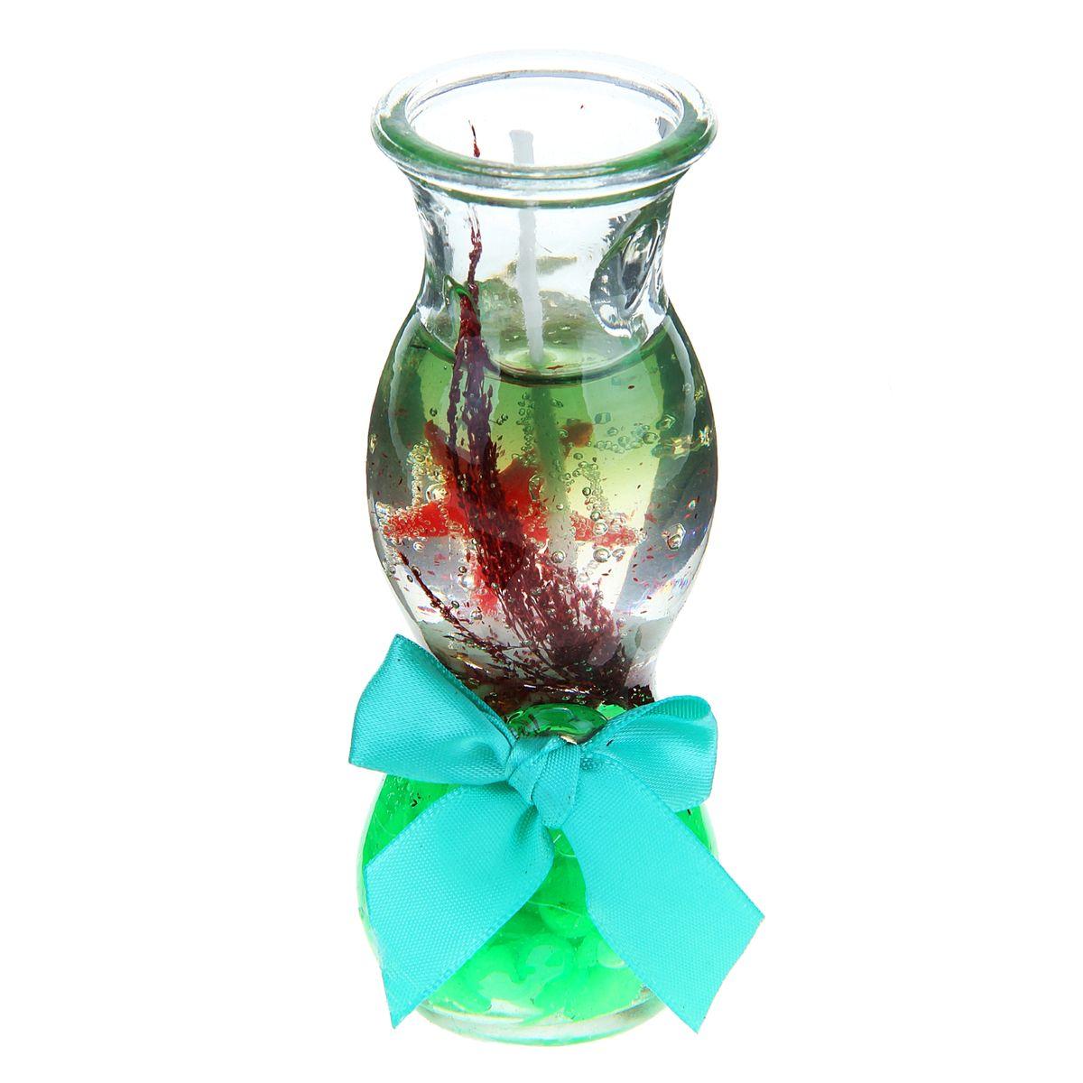 Свеча декоративная Sima-land Камушки, цвет: салатовый, высота 11 см1029517Декоративная свеча Sima-land Камушки изготовлена из геля и поставляется в подсвечнике в виде стеклянной вазочки оригинальной формы. Изделие оформлено камушками, морской звездой и текстильным бантом. Такая свеча может стать отличным подарком или дополнить интерьер вашей комнаты.