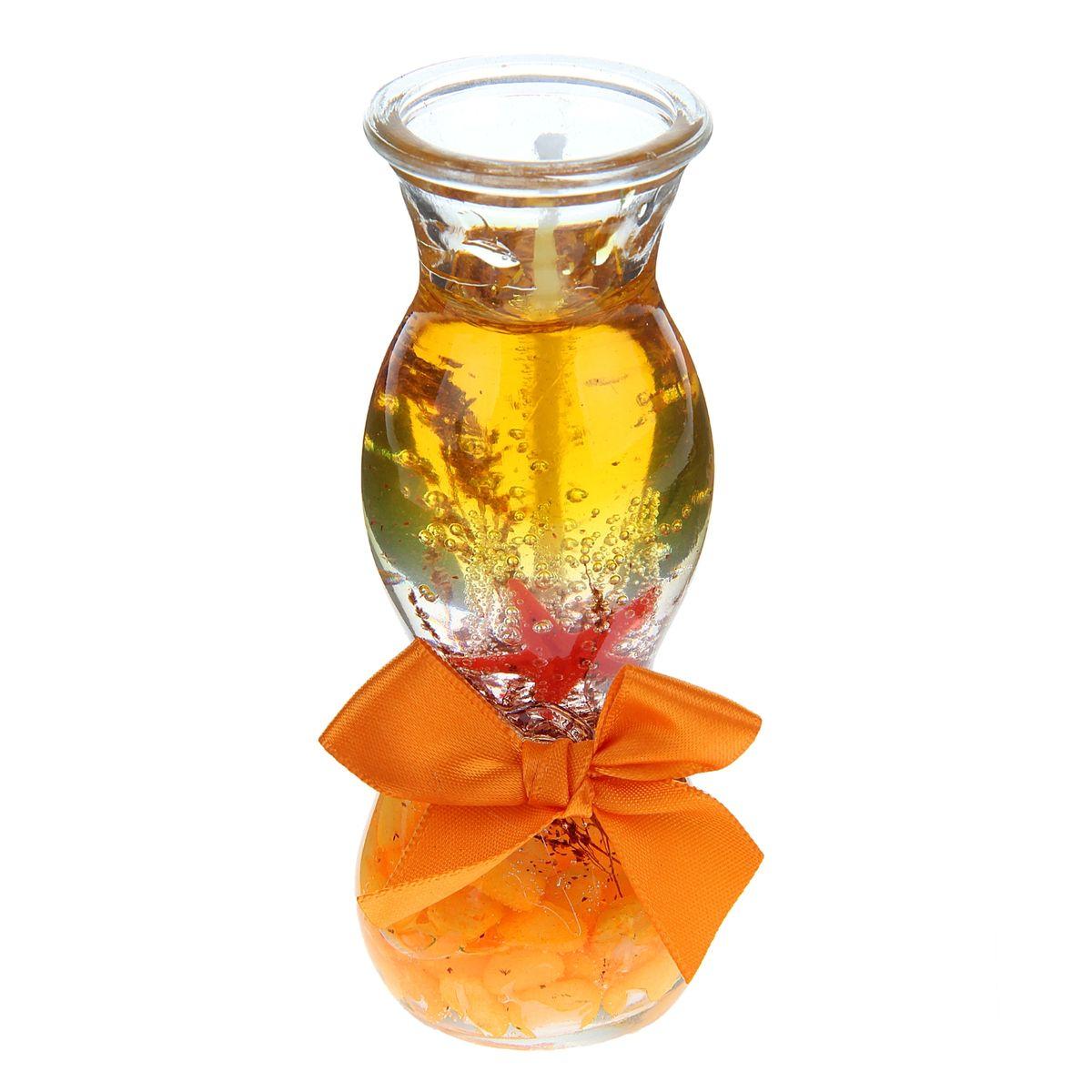 Свеча декоративная Sima-land Камушки, цвет: оранжевый, высота 11 см1029518Декоративная свеча Sima-land Камушки изготовлена из геля и поставляется в подсвечнике в виде стеклянной вазочки оригинальной формы. Изделие оформлено камушками, морской звездой и текстильным бантом. Такая свеча может стать отличным подарком или дополнить интерьер вашей комнаты.