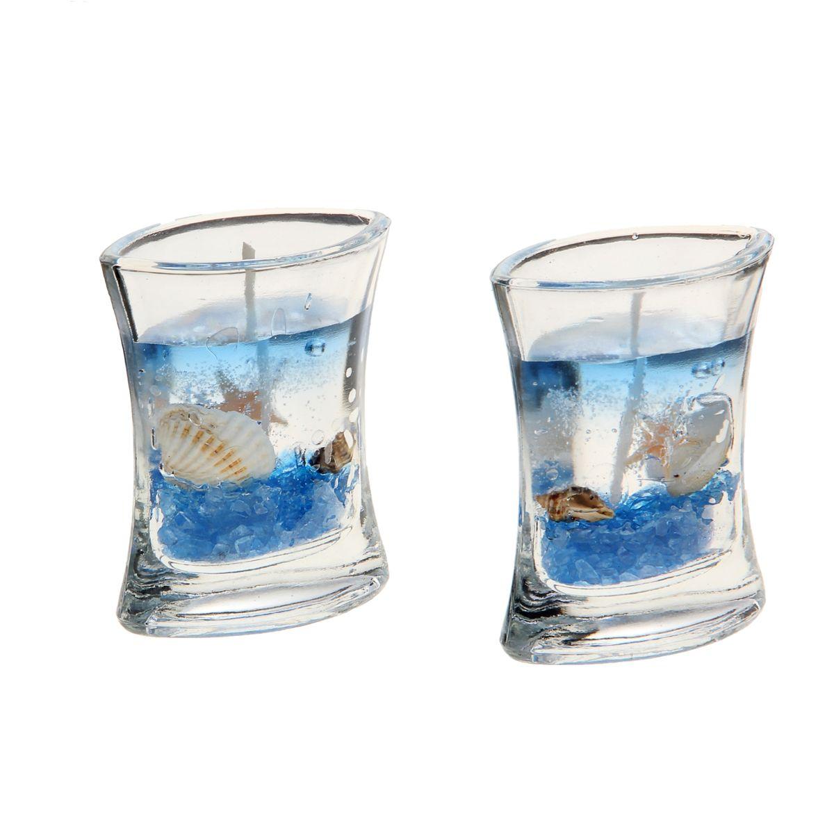 Набор декоративных свечей Sima-land Морское дно, цвет: голубой, прозрачный, 2 шт1029537Набор Sima-land Морское дно, изготовленный из геля, состоит из двух декоративных свечей. Свечи поставляются в подсвечниках в виде стеклянных емкостей. Изделия оформлены ракушками и морскими звездами. Такой набор может стать отличным подарком или дополнить интерьер вашей комнаты. Размер свечи (по верхнему краю): 6,5 см х 4 см.