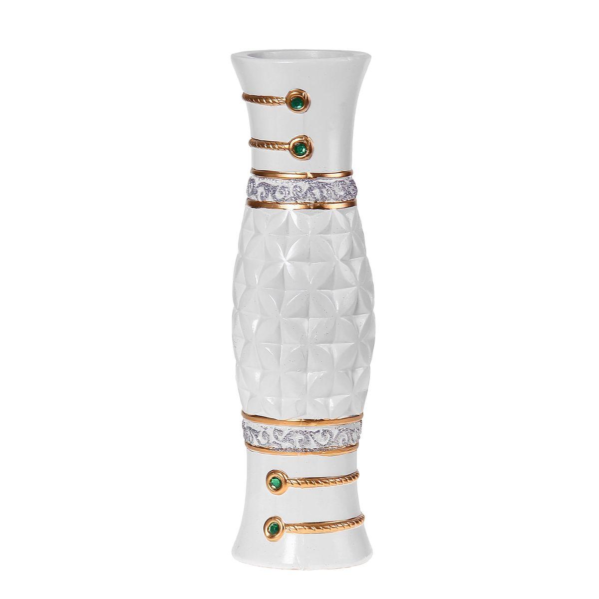Ваза керамика напольная 60 см цветочный орнамент белая ножка 1044966