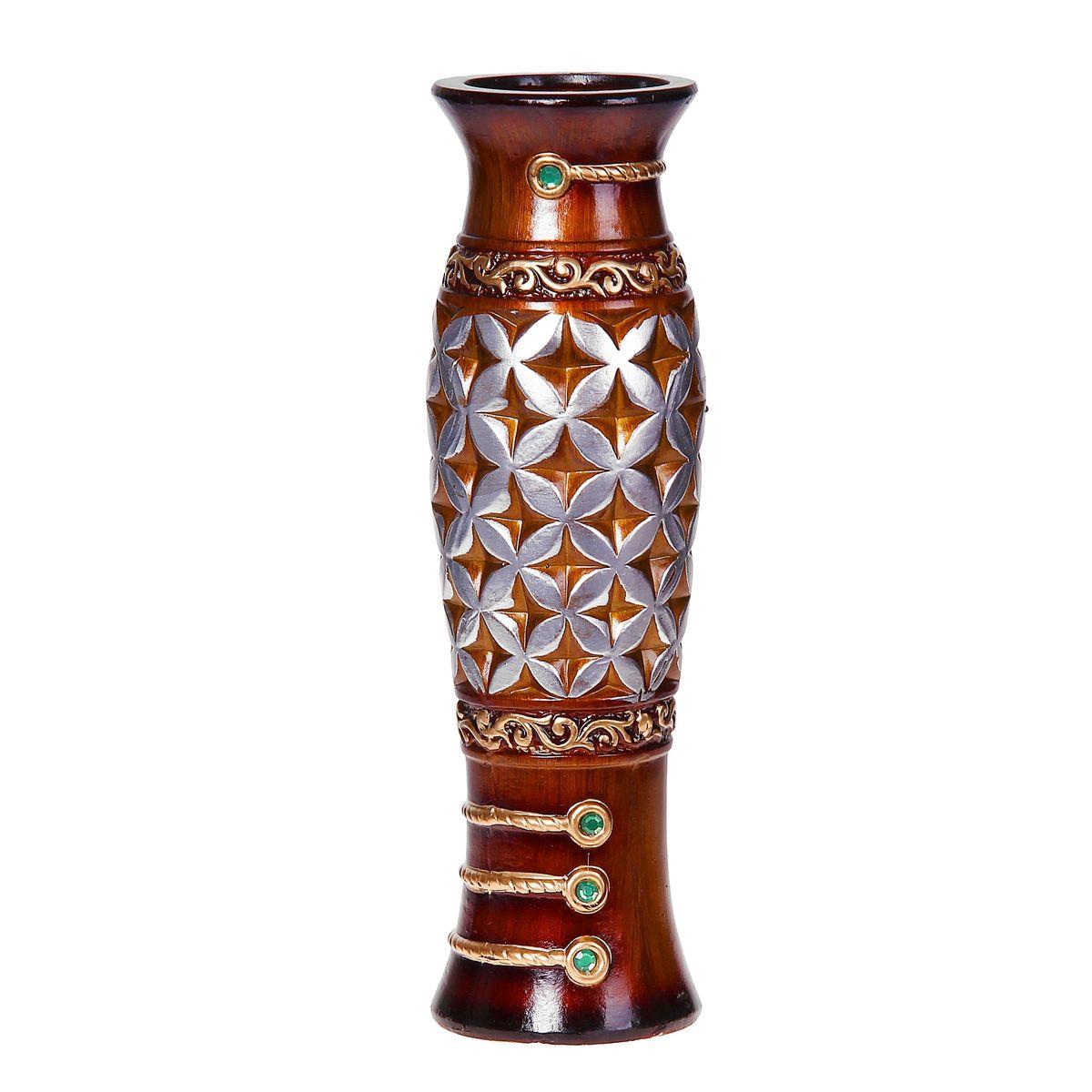 Ваза керамика напольная 60 см цветочный орнамент коричневая ножка 10449681044968Керамика
